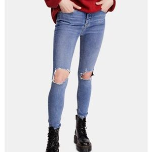 Free people turquoise busted knee skinny jeans